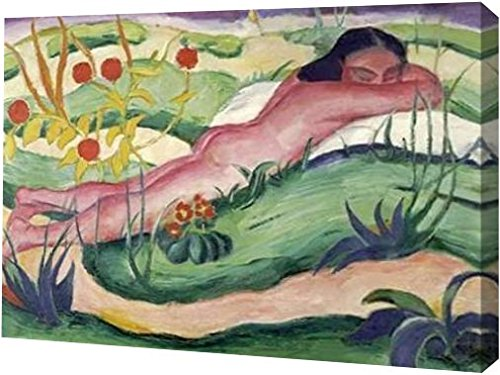 """Nude Lying In The Flowers by Franz Marc - 21"""" x 30"""" Gallery Wrapped Giclee Canvas Art Print - Ready to Hang"""