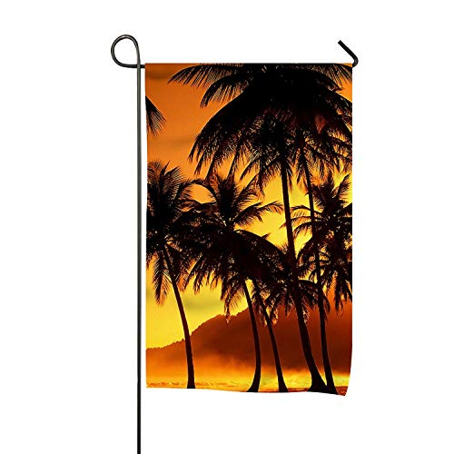 Nature Sunset Beach Coconut Grove Garden Flag 12x18 Double Sided Banner for Home Indoor Outdoor Lawn Decor -