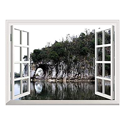 Removable Wall Sticker/Wall Mural - Beautiful Landscape The Elephant Trunk Hill | Creative Window View Home Decor/Wall Decor - 36