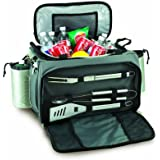 """Picnic Time Vulcan 21"""" Insulated Cooler Tote with 3 Piece BBQ Tools and Propane Grill Inside Tote"""