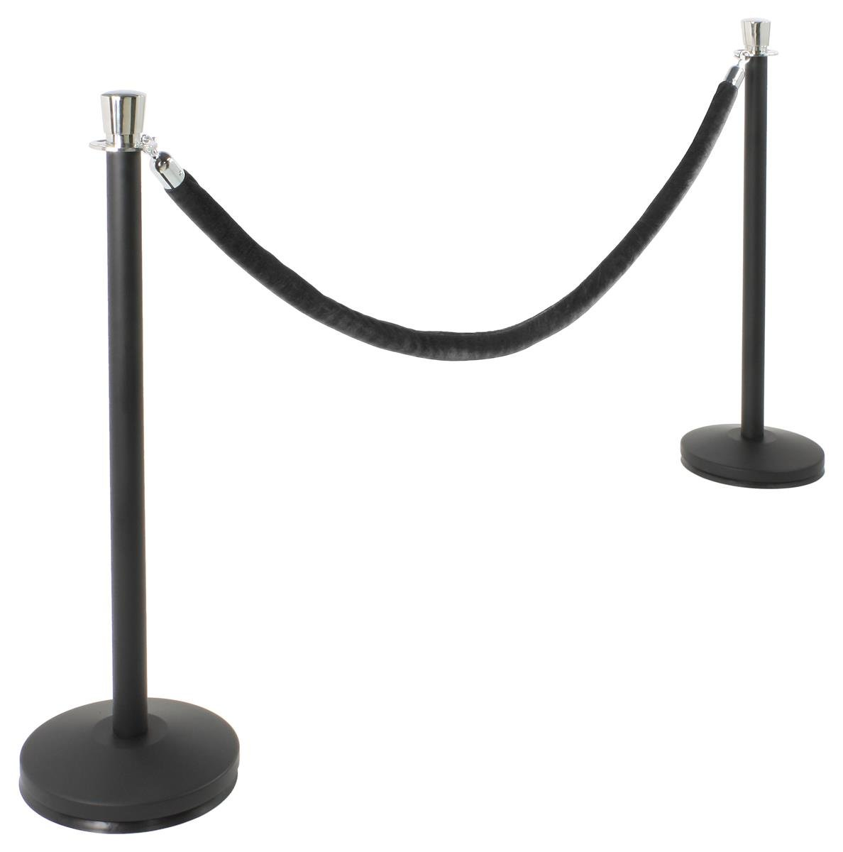 Set of 2 Matte Black Stanchion Posts with 6.5' Black Velvet Rope, Chrome Finish Tulip Tops by QueuePole