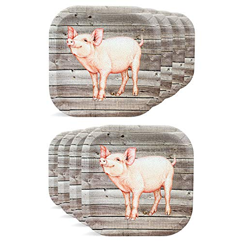 Havercamp Pig Party Plates - Barnwood Party Plates Set with Pink Piggy for Camping, Family Picnics, Birhtday Parties & Outdoor Party Supplies - 8 Paper Plates Pack 9
