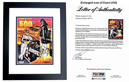 (Dale Earnhardt Sr Signed - Autographed 1997 Food City 500 Program Cover - BLACK CUSTOM FRAME - The Intimidator #3 - Deceased 2001- PSA/DNA FULL Letter of Authenticity (COA))