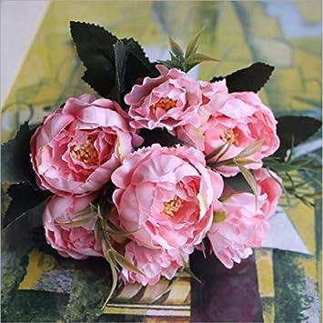 FuTaiKang 2pcs Ramo de Flores Artificiales peonía para decoración hogar Boda Fiesta