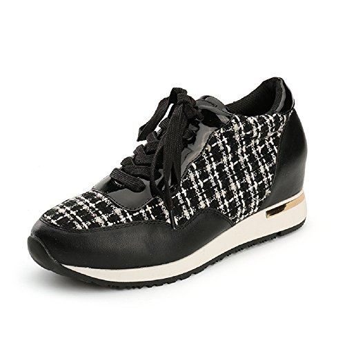 Alexis Leroy Lightweight Walk Trainer Contrast Fabric Women's Low-Top Sneakers Black
