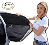 Car Sun Shade (2 Pack, Fits Most Cars and SUV) | Car Window Shades for Baby, Passengers and Pets Without Clings or Suction Cups | Car Curtains | Complementary Bonus