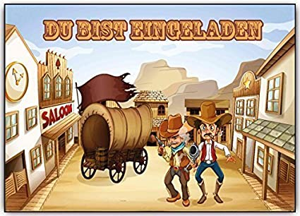 Cartes D Invitation Anniversaire D Enfant Cowboy Invitation Cartes D Anniversaire Far West Lot De 8 Amazon Fr Fournitures De Bureau