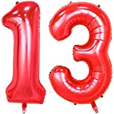 ZiYan 40inch Red Number 13 Balloon Party Festival Decorations Birthday Anniversary Jumbo foil Helium Balloons Party Supplies use Them as Props for Photos