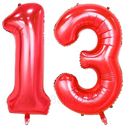 ZiYan 40inch Red Number 13 Balloon Party Festival Decorations Birthday Anniversary Jumbo foil Helium Balloons Party Supplies use Them as Props for -