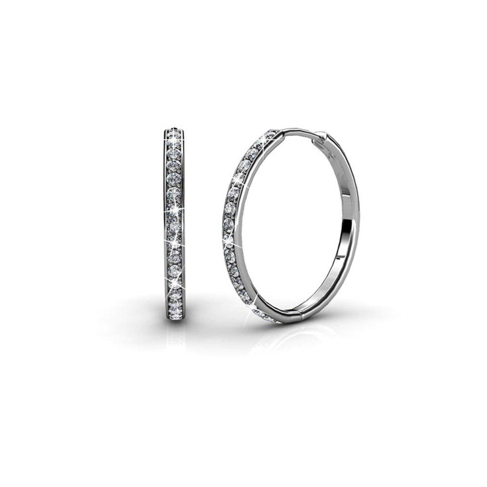 Cate & Chloe Bianca 18k White Gold Hoop Earrings with Swarovski Crystals, Crystal Drop Dangle Earrings, Best Silver Hoops for Women, Sparkle Round Hoops for Ladies, Small Hoop Earrings MSRP $135