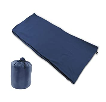 NKTM Sleeping Bag Liner Warm Cozy Polar Fleece Travel Blanket Lightweight Compact Adult Sack For