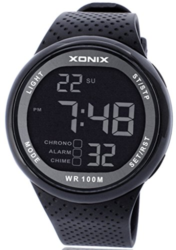 Xonix Mens LED Multi Function Digital Waterproof 100m Sports Black Watch by Xonix: OUANGANC: Amazon.es: Deportes y aire libre