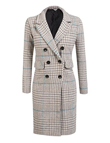 EASTHER Women's Winter Thick Lined Double Breasted Long Maxi Jacket Blazer Pea Coat