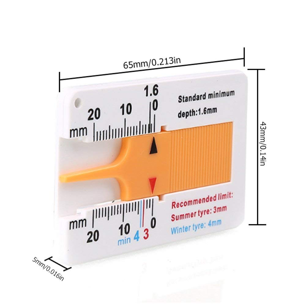 Oyamihin Messwerkzeug Reifenprofil Tiefenmesser Profiltiefe Meter f/ür Auto Anh/änger Motorrad Caravan Anh/änger Rad Autozubeh/ör wei/ß /& gelb