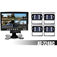 AUDIOTEK AT-724RC 7 TFT LCD MONITOR AND REAR VIEW BACK UP - 4 CAMERAS COLOR WATERPROOF WITH NIGHT VISION FOR RV / BIG SEMI TRUCK / BUS