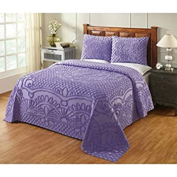 Image of 3 Piece Farmhouse Style Purple Geo Bedspread King Tufted Elegant Modern Look Solid Color Floral Geometric Textured Aesthetic Chenille Bedspread 100 Percent Cotton Old Fashioned Shabby Chic Bedding Home and Kitchen