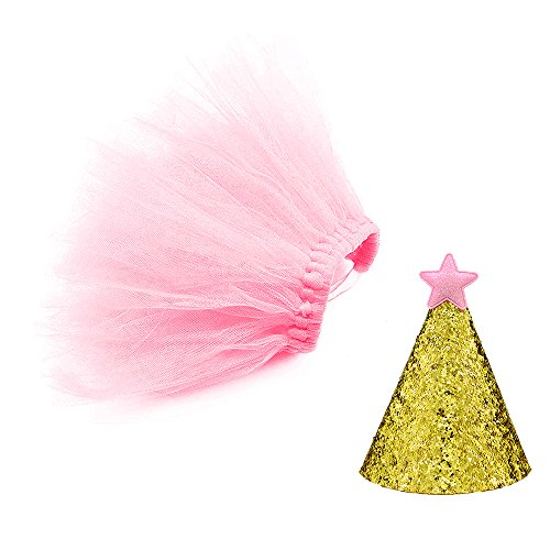 Petsidea Dog Tutu Skirt Birthday Outfit Kit with Gold Glitter Cone Hart Halloween Costume (Large, Pink)]()