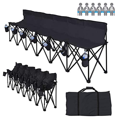 BenefitUSA Folding Sports 6 Seater Sideline Portable Bench with Storage Bag and Carry Bag (Black) ()
