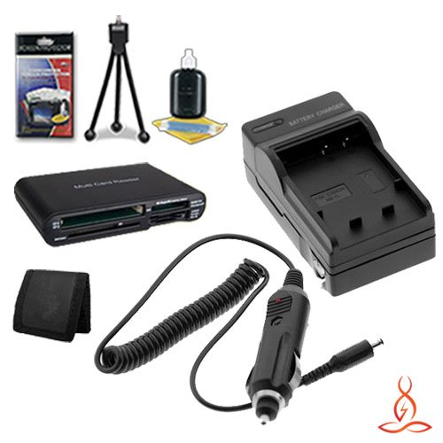 Halcyon Brand 600 mAH Charger with Car Charger Attachment Kit + Memory Card Wallet + SDHC Card USB Reader + Deluxe Starter Kit for Nikon D50, D70, D70S, D80, D90, D100, D200, D300, D300S, D700 Digital SLR Cameras and Nikon EN-EL3E
