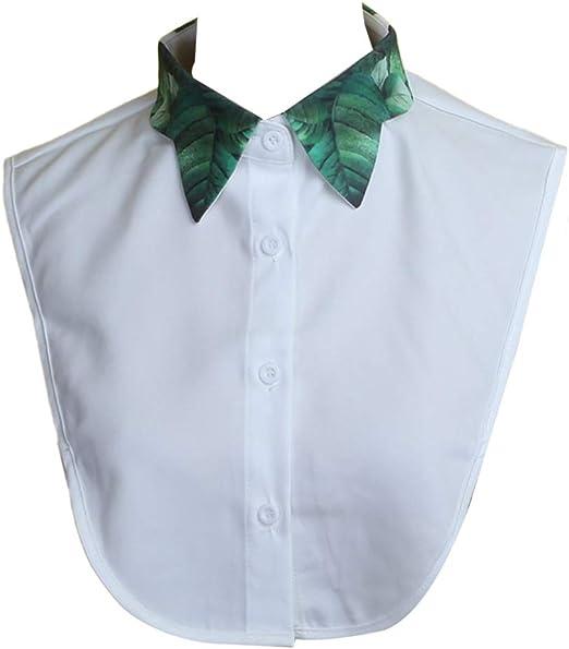 Collar desmontable, para mujer, diseño de hojas verdes tropicales, cuello falso, blusa de media camisa desmontable: Amazon.es: Hogar