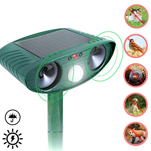JIA LE Ultrasonic Animal Repeller, Outdoor Solar Powered Weatherproof Repeller, Motion Activated with Flashing LED Light and Sound Effectively Sc (Green)