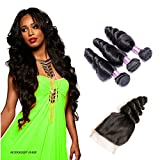 Suerkeep Virgin Brazilian loose Wave 3 Bundles With Free Part Lace Closure Remy Unprocessed Crochet Loose Wave Human Hair Extensions Can Be Dyed, Bleached And Restyled (8 10 12+8, #1b)