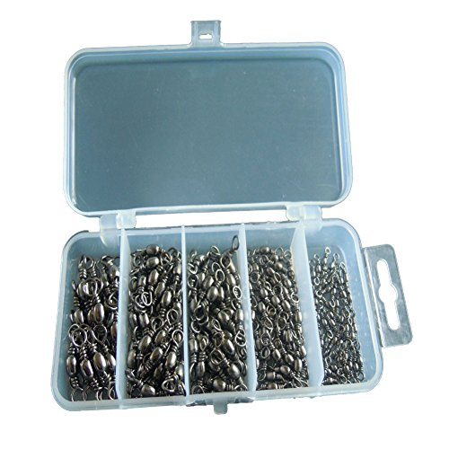 200pcs Size 2 4 6 8 12 Strong Fishing Rolling Swivels Fishing Tackle Accessories Line to Hook Connectors