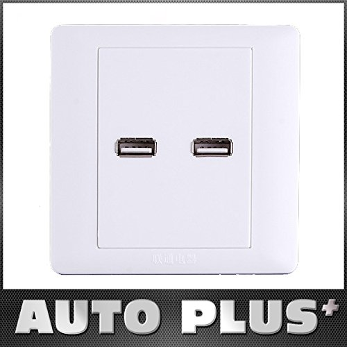 Coupler Panel Outlet - UltiSmart(TM)2 x USB Ports Wall Plate Coupler Outlet Socket Panel USB Adapter White Color