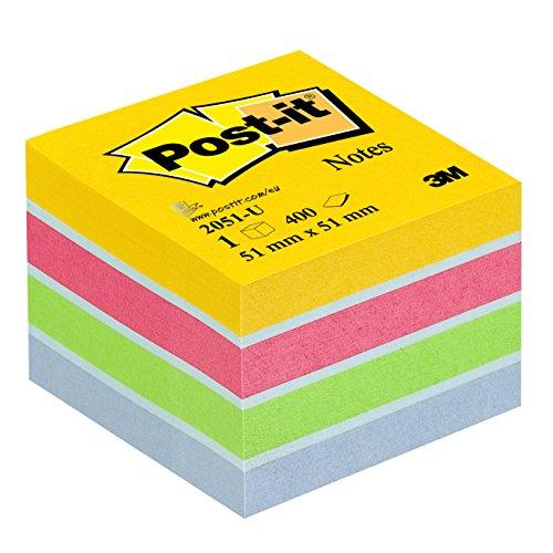 Post-it 2051-U Haftnotiz Mini Würfel, 70 g/qm, 51 x 51 mm, 400 Blatt, ultrafarben