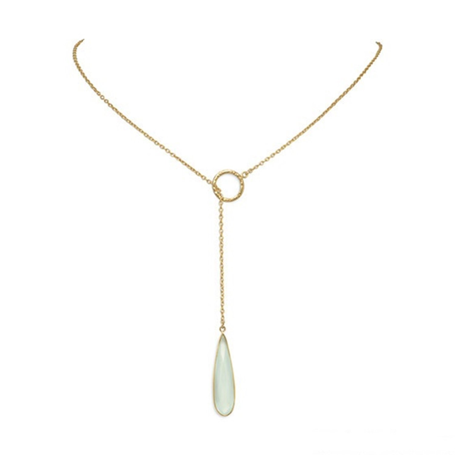 Blue Dyed Chalcedony Pendant Lariat Necklace Gold-plated Sterling Silver by AzureBella Jewelry