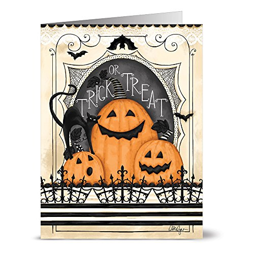24 Halloween Note Cards - Trick or Treat Jack-O-Lanterns - Blank Cards - Tangerine Zest Envelopes Included -