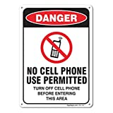 No Cell Phone Use Permitted Sign, Large 10 X 7