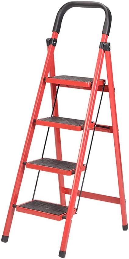 XINGZHE Escalera Taburete Plegable Cómodo Reposabrazos Grueso Antideslizante Plegable Espiga Escalera de ingeniería de un Solo Lado Escalera roja de Cuatro peldaños 138X42X70cm De múltiples Fines: Amazon.es: Hogar