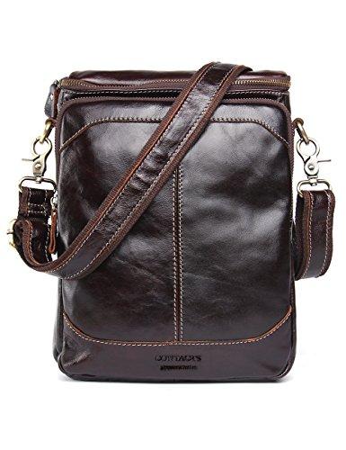 Contacts Genuine Leather Men Messenger Crossbody Shoulder Bag Handbag Dark Brown