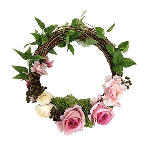 Adeeing 12 Inches Floral Artificial Rose Green Leaves Flower Rattan Wreath Door Hanging Wall Window Decoration Holiday Festival Wedding Decor, Pink