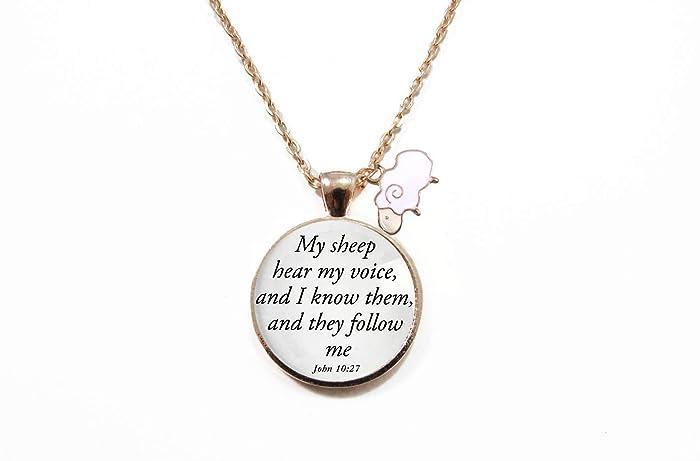 Amazon com: Christian Jewelry- Scripture Necklace- Enamel