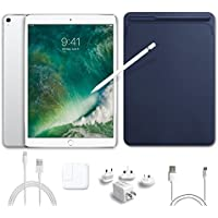 2017 New IPad Pro Bundle (5 Items): Apple 10.5 inch iPad Pro with Wi-Fi 64 GB Silver, Leather Sleeve Midnight Blue, Apple Pencil, Mytrix USB Apple Lightning Cable and All-in-One Travel Charger