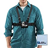 Adjustable Chest Mount Harness for GoPro HERO1 - HERO2 - HERO3 - HERO3+ - HERO4 - HERO4 Session - HERO5 - HERO 6 - Fusion Cameras & eCostConnection Microfiber Cloth