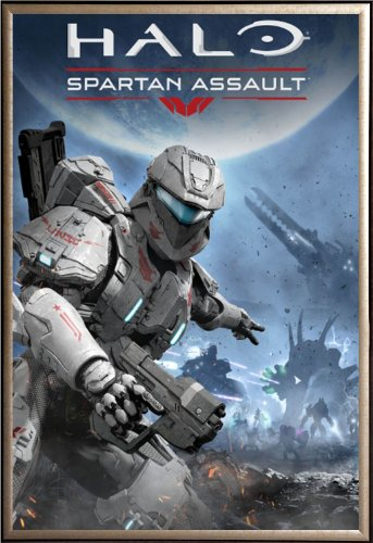 Framed Halo - Spartan Assault 22x34 Dry Mount Poster Gold - Halo Spartan Gold