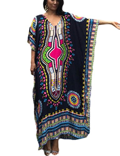 Bsubseach Women Beach Tunic Black Bohemian Kaftan Swimsuit Cover Up Maxi Dress Beachwear