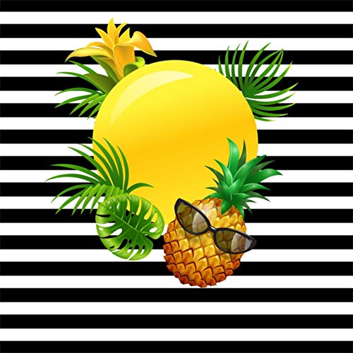 (Leyiyi 7x7ft Summer Beach Coco Party Backdrop Black White Striped Banner Tropical Plant Leaves Background Hawaiian Luau Pineapples Full Moon Sunglass Kids Birthday Portrait Studio Prop Vinyl Wallpaper)