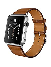 MroTech Compatible for Apple Watch Band 42mm 44mm Series 4 3 2 1 iWatch Strap Genuine Leather Wristband Replacement Watchband for Apple Watch Sport/Edition/Nike+ (Brown, 42 mm)