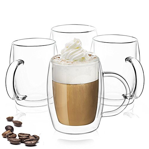JoyJolt Double Wall Glasses 13.5-Ounce Insulated Mugs Double Walled Glass Cups For Coffee Tea Set of 4