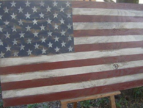 Distressed American Flag wall decor-46 x 25 Americana Patriotic Red White Blue