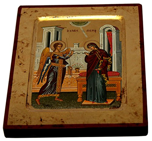 Annunciation - Visitation Icon with sheets of Gold (Lithography) (12 x 9.5) by Holy Land Market