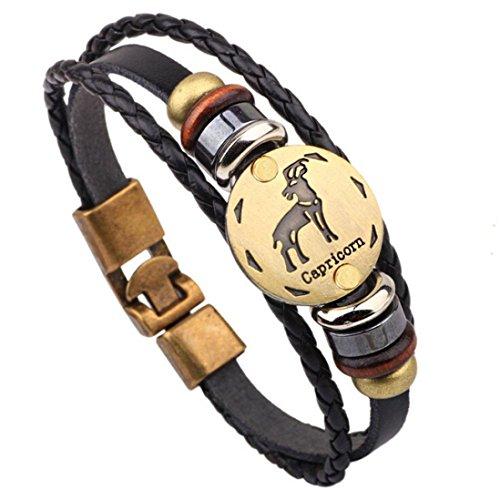 HIRIRI Hot Sale Unisex 12 Constellations Bracelet Fashion Jewelry Alloy Leather Bracelet Personality Bracelet Gift ()