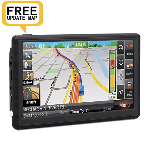 Car GPS Navigation, 7 inch Portable GPS Navigator Electronic Touchscreen Voice Turn-by-turn Instruction, Sat-Nav DDR128M 8GB Latest Maps Free Lifetime Map Update by ADiPROD