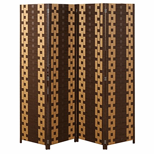 MyGift Chain Link Pattern 4 Panel Room Divider, Partition Folding Screen, Brown