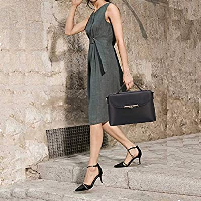 Banuce Black Genuine Leather Handbag for Women Handle Tote Messenger Satchel Purse Shoulder Bag
