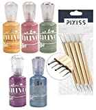 Nuvo Crystal Drops 5 Colors, Navy Blue, Violet Galaxy, Moroccan Red, Auburn Pearl, Olive Branch with Pixiss Dotting Tool Set